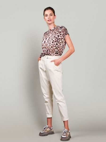 Top short slv feather print